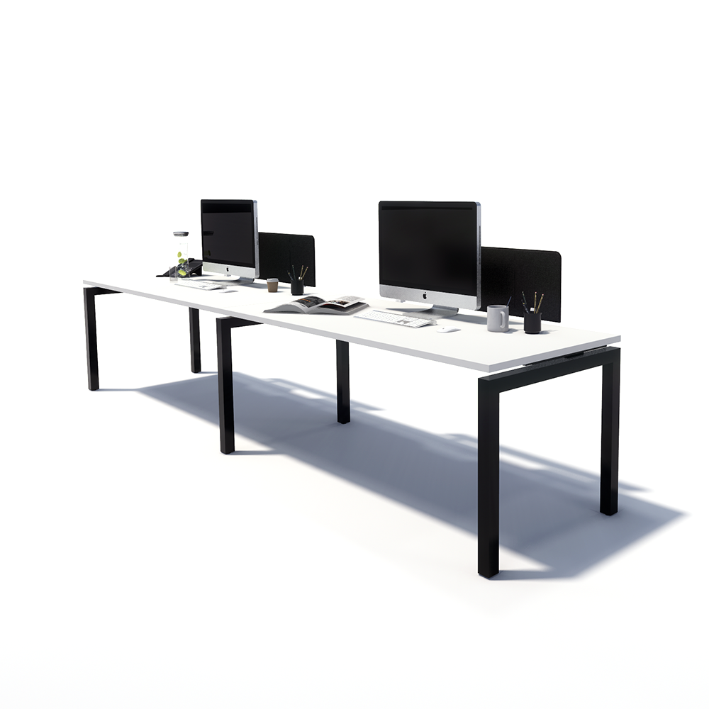 Gen Y 2 Person Side by Side Black Frame Workstation