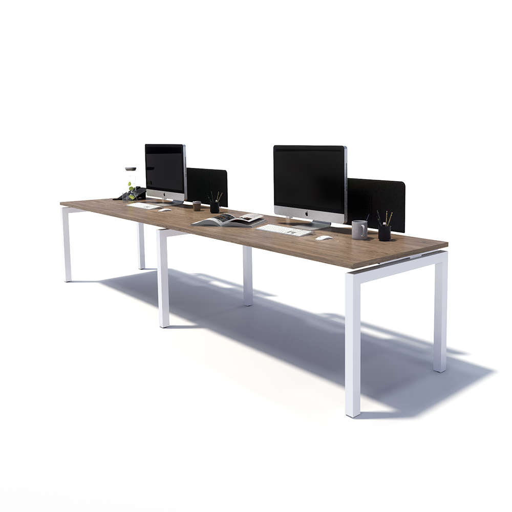 Gen Y 2 Person Side by Side White Frame Workstation