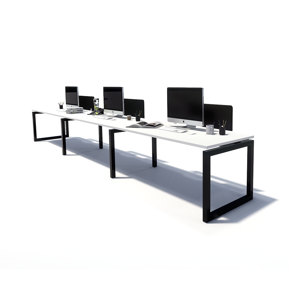 Gen O 3 Person Side by Side Black Frame Workstation