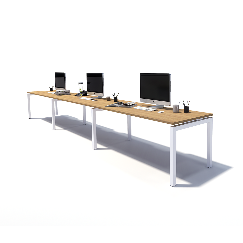 Gen Y 3 Person Side by Side White Frame Workstation