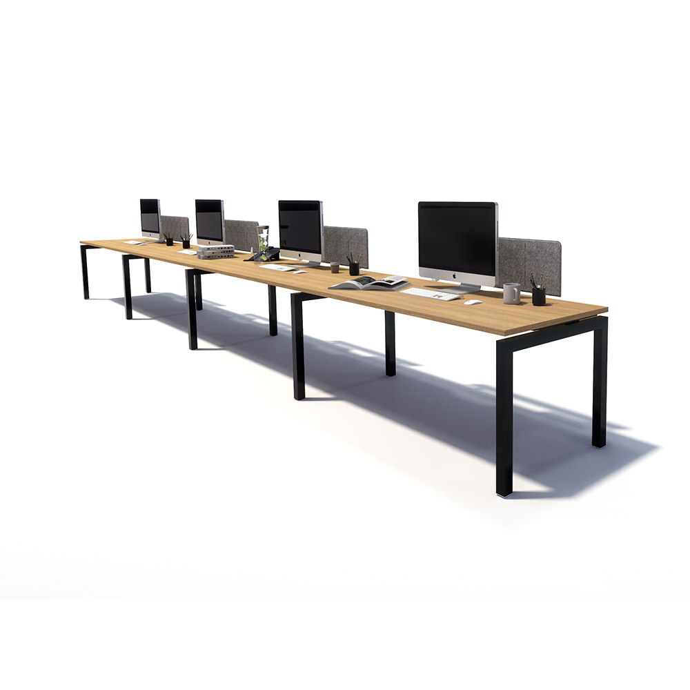 Gen Y 4 Person Side by Side Black Frame Workstation