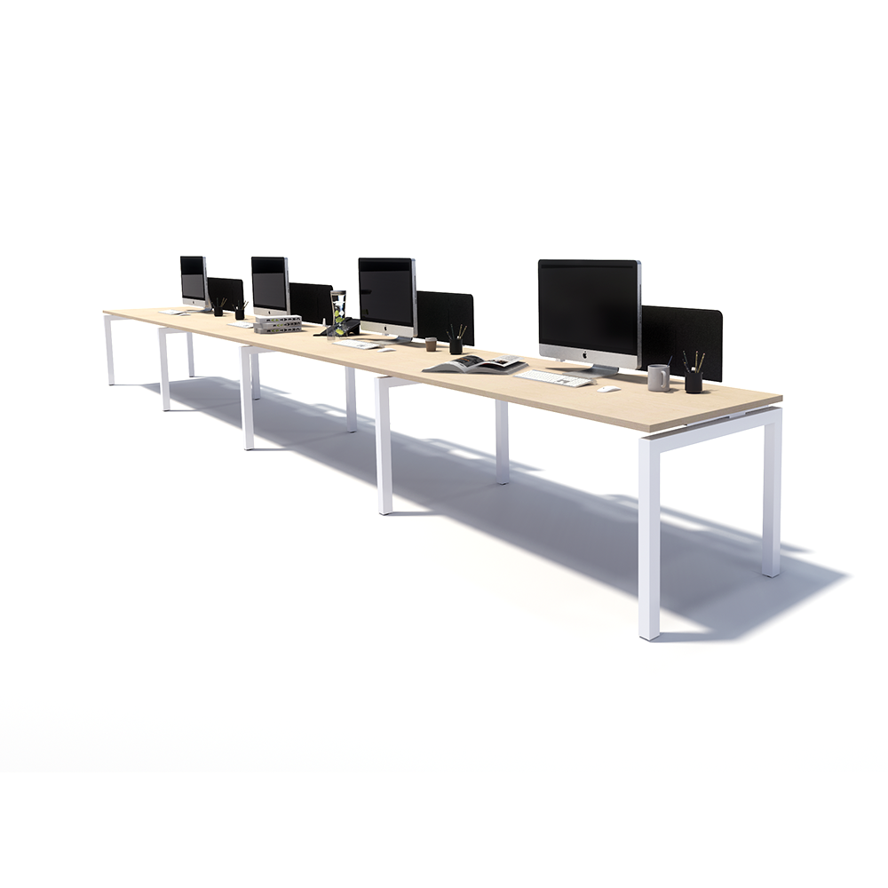 Gen Y 4 Person Side by Side White Frame Workstation