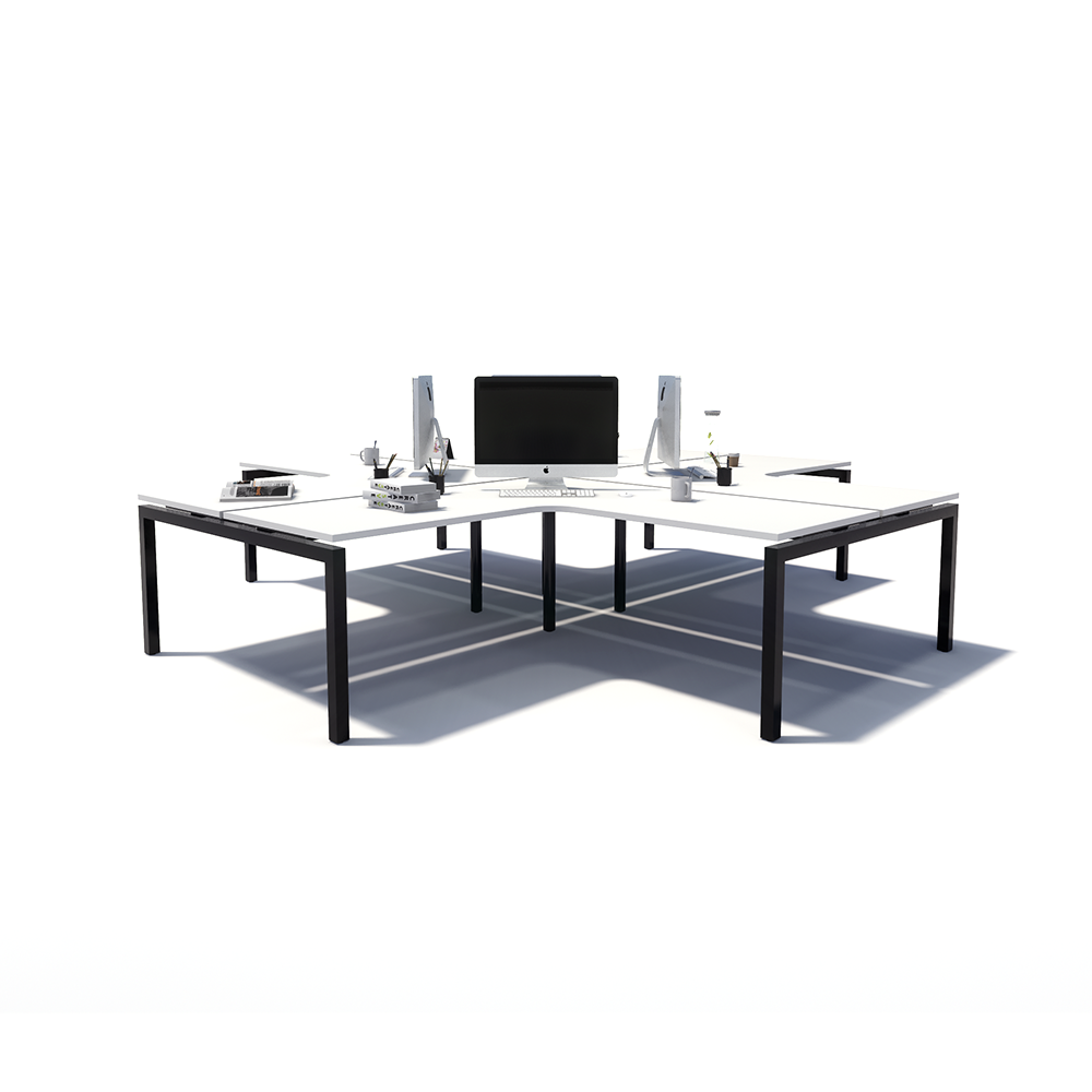 Gen Y 4-way 4 Person Black Frame Workstation