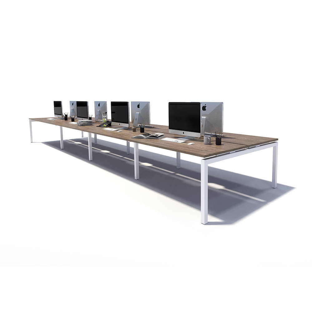 Gen Y 8 Person Back to Back White Frame Workstation