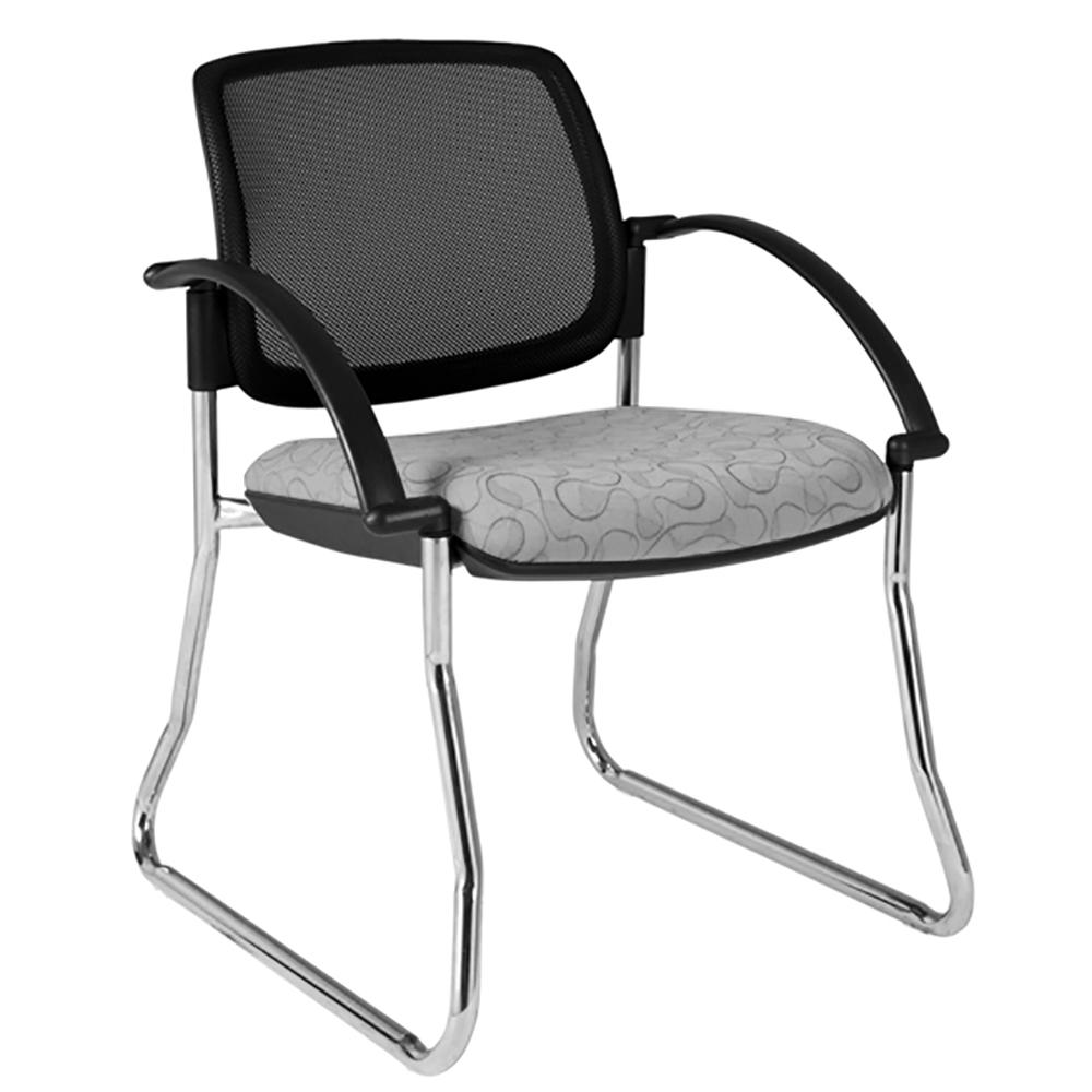 Maxi Sled Mesh Back White Frame Visitor Chair with Arms