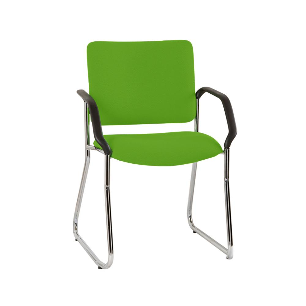 Vera High Back Chrome Sled Base Chair with Arms