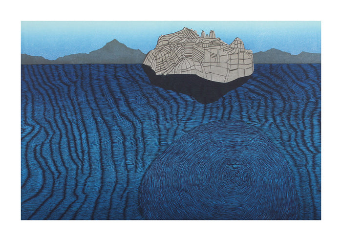 April Katie Baldwin Woodcut the print center ocean waves made in Philadelphia