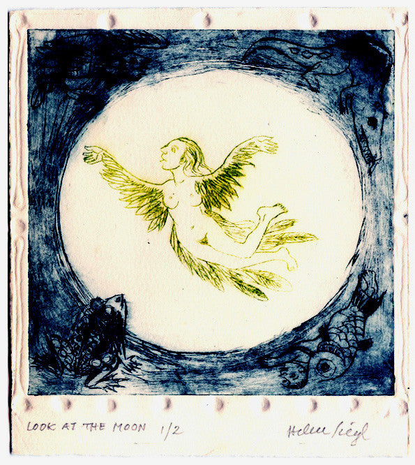 Look at the Moon etching helen siegl the print center circular vignette angel wings girl fairy tale