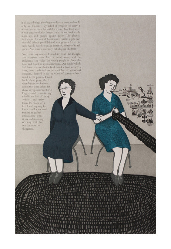 Progress woodcut the print center Katie Baldwin women text knitting