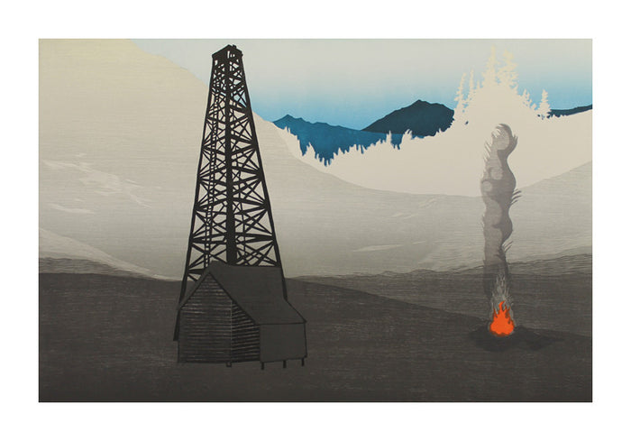 February Woodcut Katie Baldwin the print center fire mountains shed smoke signal environment