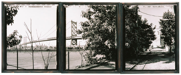 North Side on Water Street James Abbot black and white photography triptych bridge trees