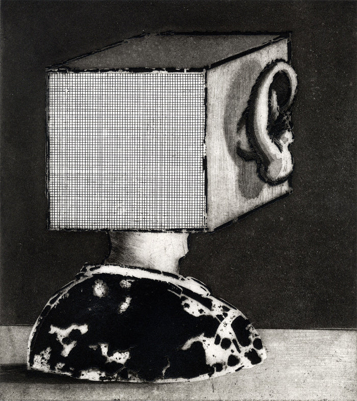 Containment etching ivanco talevski head in box political black and white contrast ear people society the print center