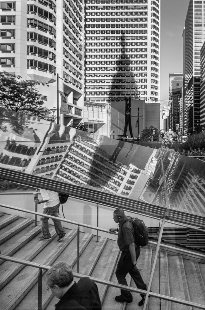 West View from Dilworth Park, Philadelphia Inkjet print James Abbot Black and white photography city life buildings people moving