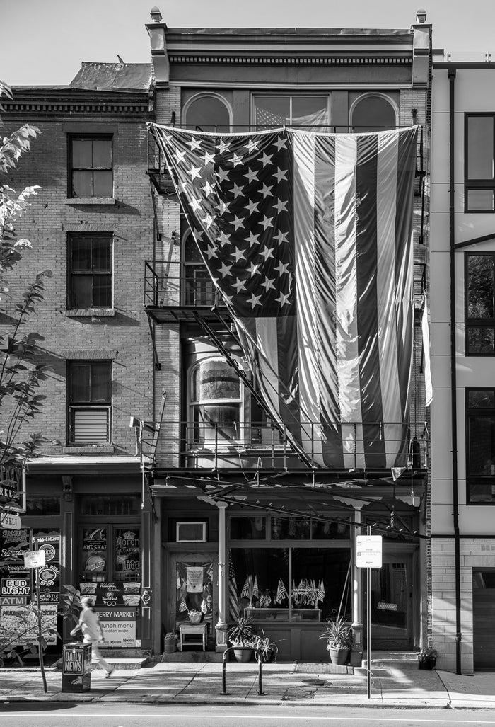 Flag and Facade North Third Street, Philadelphia Inkjet Print James Abbott photography the print center flags america old shops and buildings
