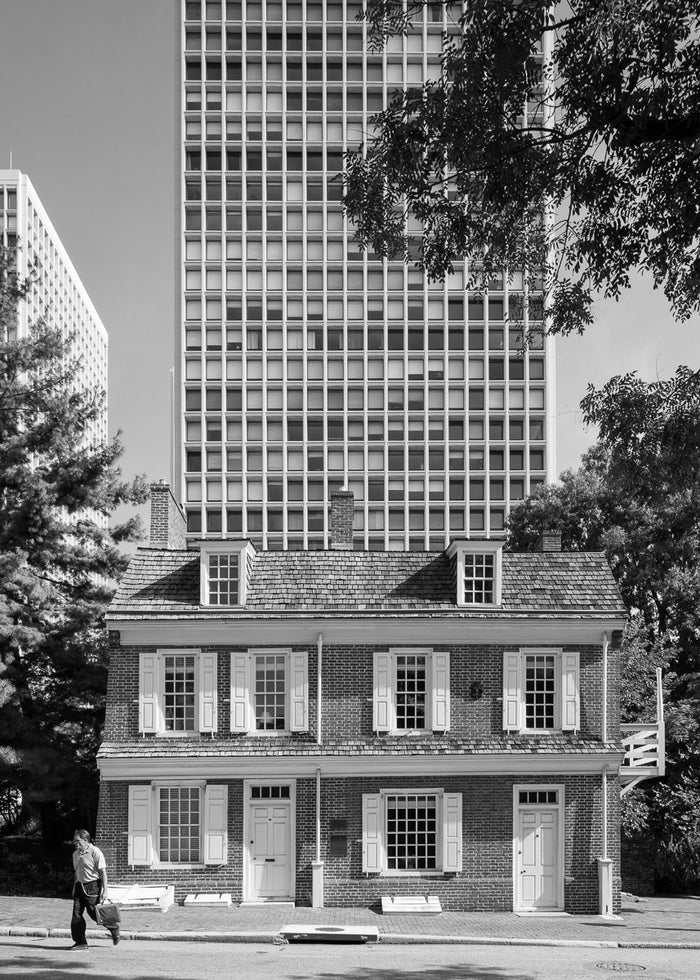 Man Full of Troubles Tavern and Society Hill Tower from Spruce Street, Philadelphia James Abbott Inkjet Print buildings man running the print center black and white photography city photography Philadelphia