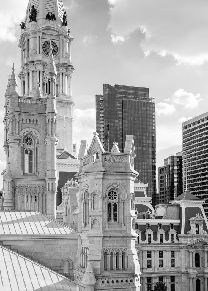 """ Southwest View from North 15th and Arch Street, Philadelphia"" by James Abbott. An Inkjet Print depicting a section of the Philadelphia skyline, including City Hall, the Residences at the Ritz Carlton, and the Masonic Temple. Landscape, Cityscape, Black and White, Photograph. The Print Center"