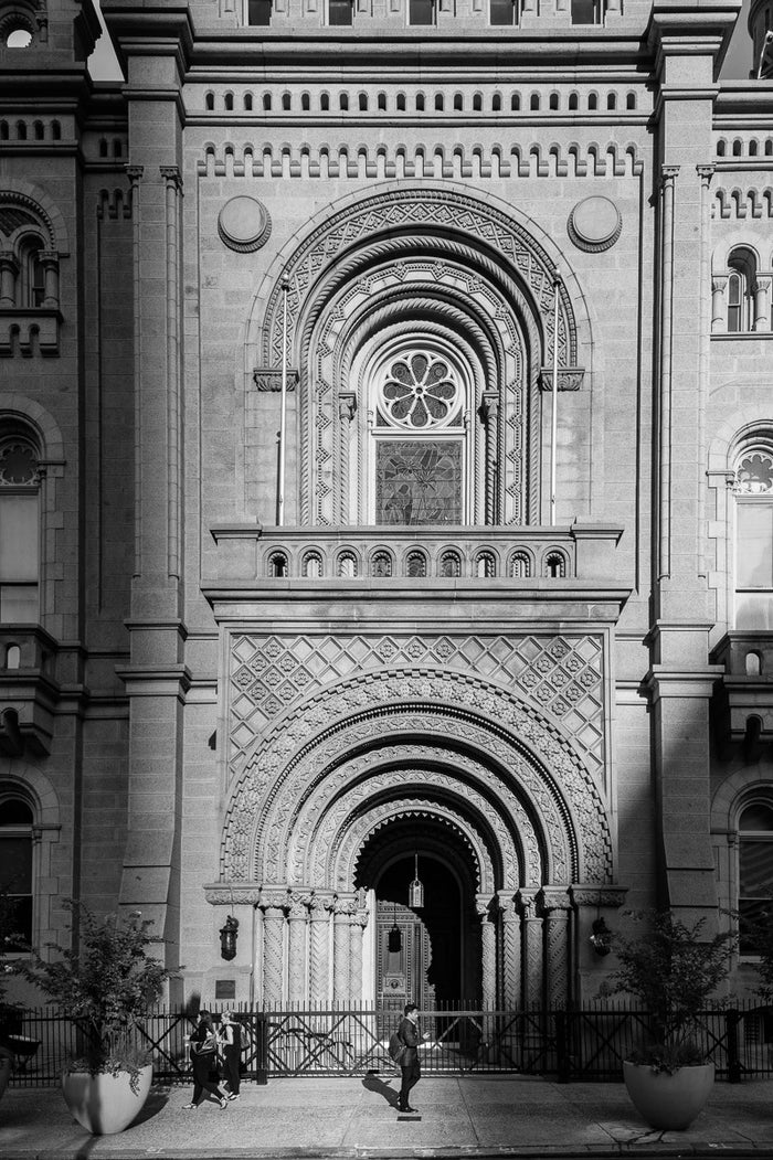 Masonic Temple Facade North Broad, Philadelphia James Abbott Inkjet Print the print center arched doorway church history of Philadelphia black and white photography