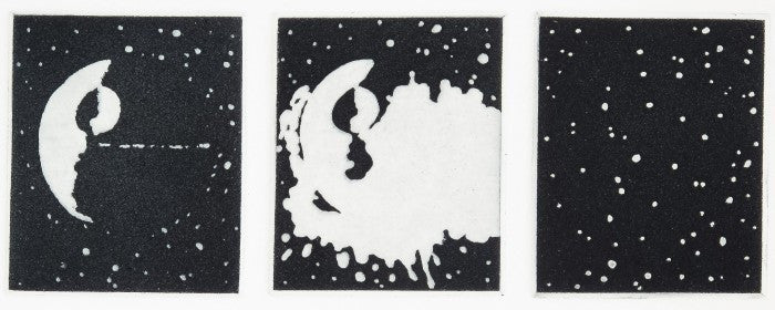 Moon Jason Urban /intaglio the print center black and white 3 prints space sci-fi