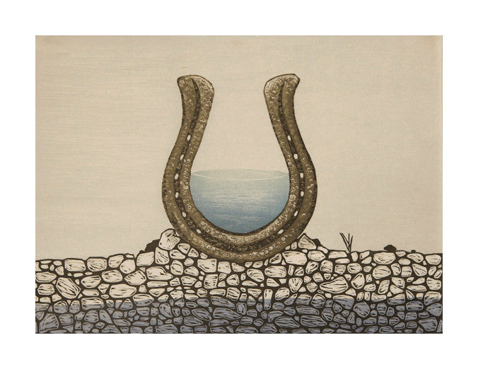 Rock Pile Fortune Vessel Rebecca Gilbert Woodcut the print center horseshoe water luck made in Philadelphia