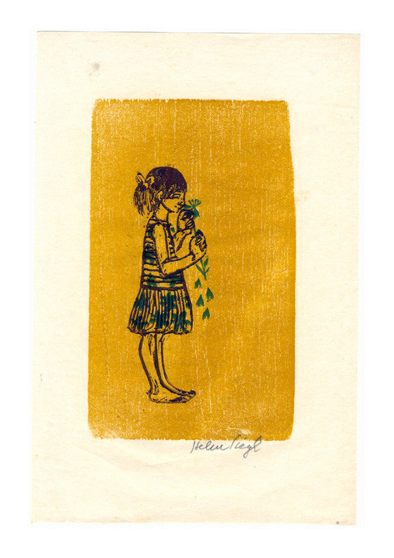 Loves me Not Helen Siegl the print center woodcut girl yellow background dress flowers valentines day
