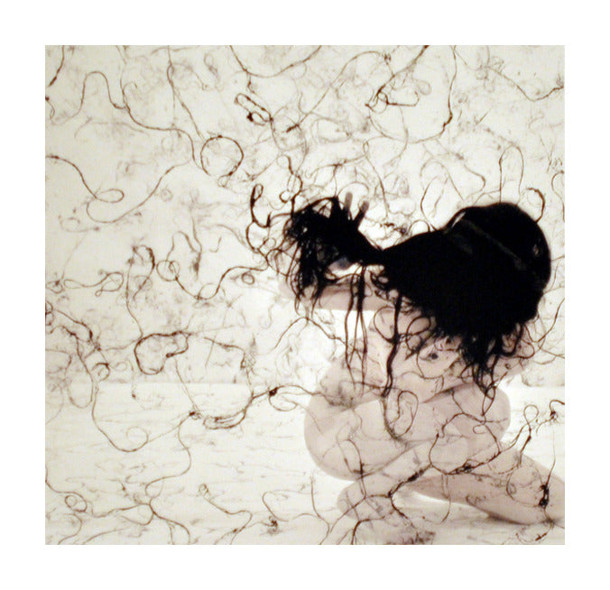 Hairbody II Andrea Cote Inkjet Print portrait of woman hair bornw hair texture abstraction hair as lines and patterning