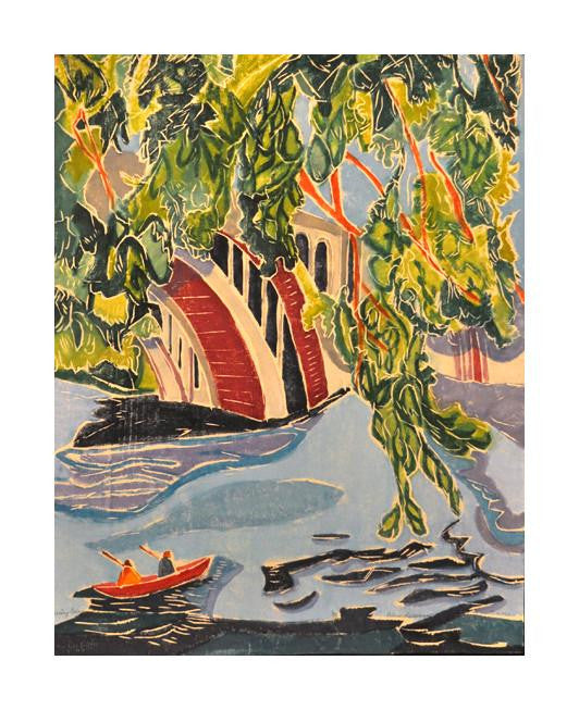 Crossing Current Aline Feldman woodcut the print center water boat trees landscape