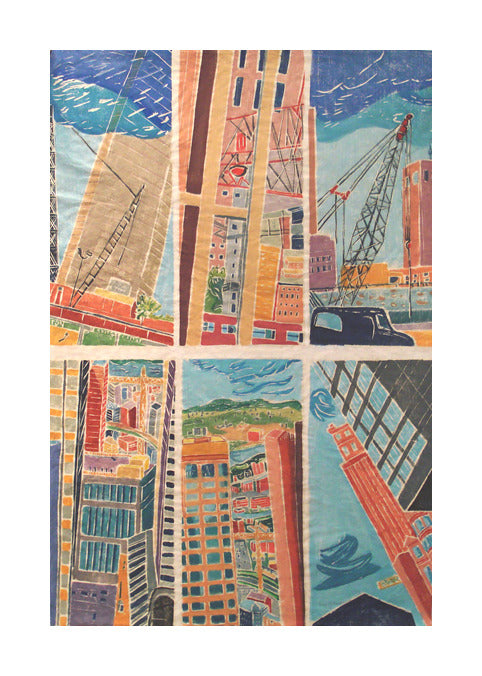 Angle Of Change Aline Feldman Whiteline woodcut the print center city consrtuction perspectives looking up bright colors