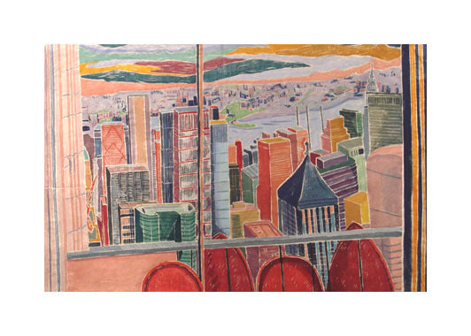 City Talk white line woodcut Aline Feldman The Print center window view of the colorful city