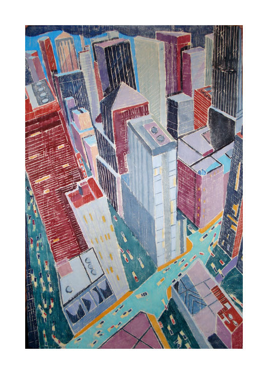 City Evening white-line woodcut aline feldman the print center buildings city skyline