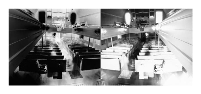 Gloria Dei Church, Congregation 1 Digital Pigment Print Ann Hamilton church contrast black and white photography pews