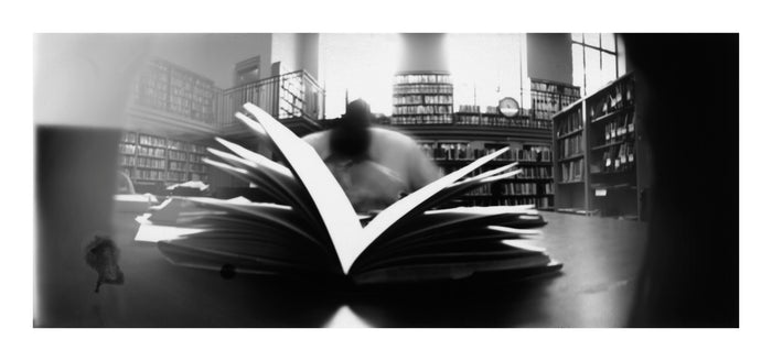 Free Library of Philadelphia, Reading 5 publisher the print center Ann Hamilton Digital Pigment Print photography black and white motion long exposure fish eye books city