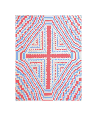 Pink Cross Silkscreen Andrew Jeffrey Wright the print center space 1026 optical illusions