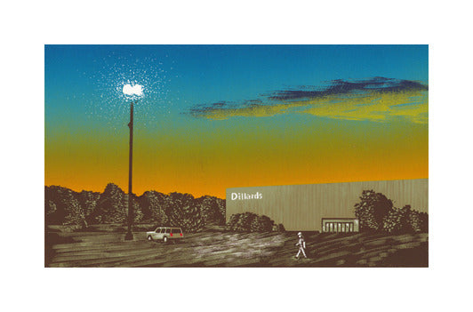 Parking Lot at the Mall Anthony Lazorko Woodcut the print center gradient sky blue to orange