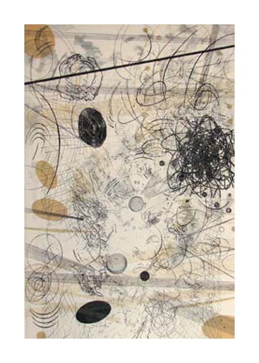 Abyss Rosalyn Richards Ethcing Black and White Abstraction The Print Center Scribbles