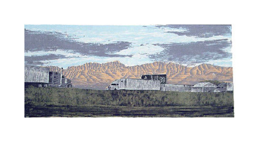 An Interstate Runs Through It Anthony Lazorko Woodcut Relief The Print Center Printing Highway Mountains Trucks