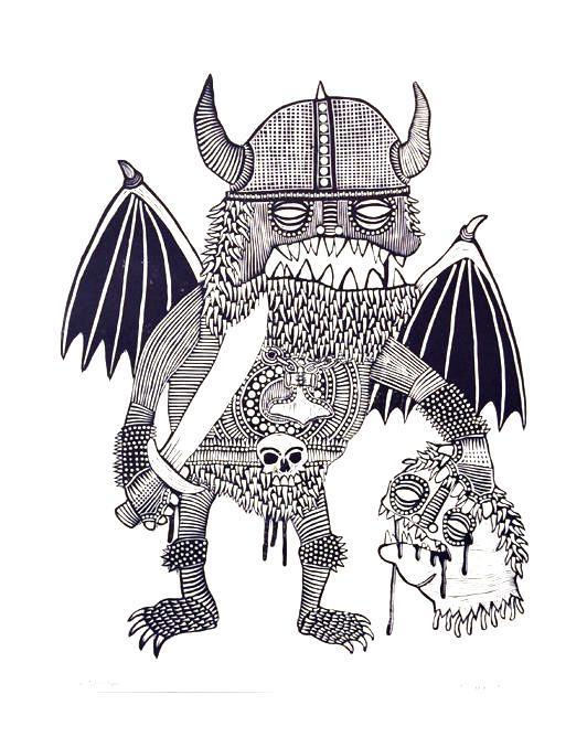 Corpse Destroyer Linocut Bill McRight the print center viking monster with wings and sword beheaded