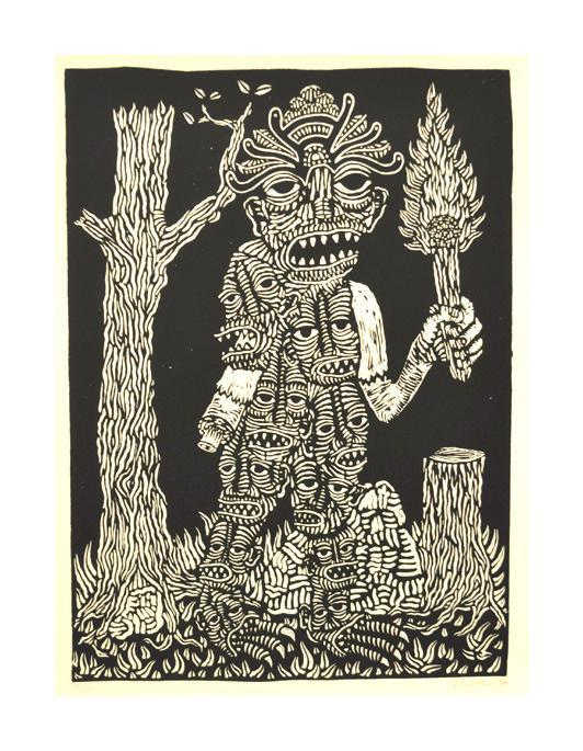 Made of Faces Bill McRight Linocut fire tree forest masks monster the print center Philadelphia