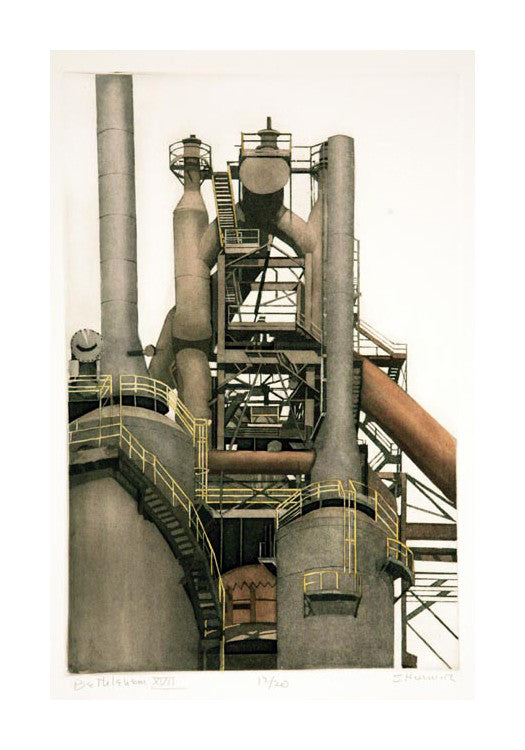 Bethlehem XVII Intaglio Sidney Hurwitz Industrial Landscape Pipes The Print Center