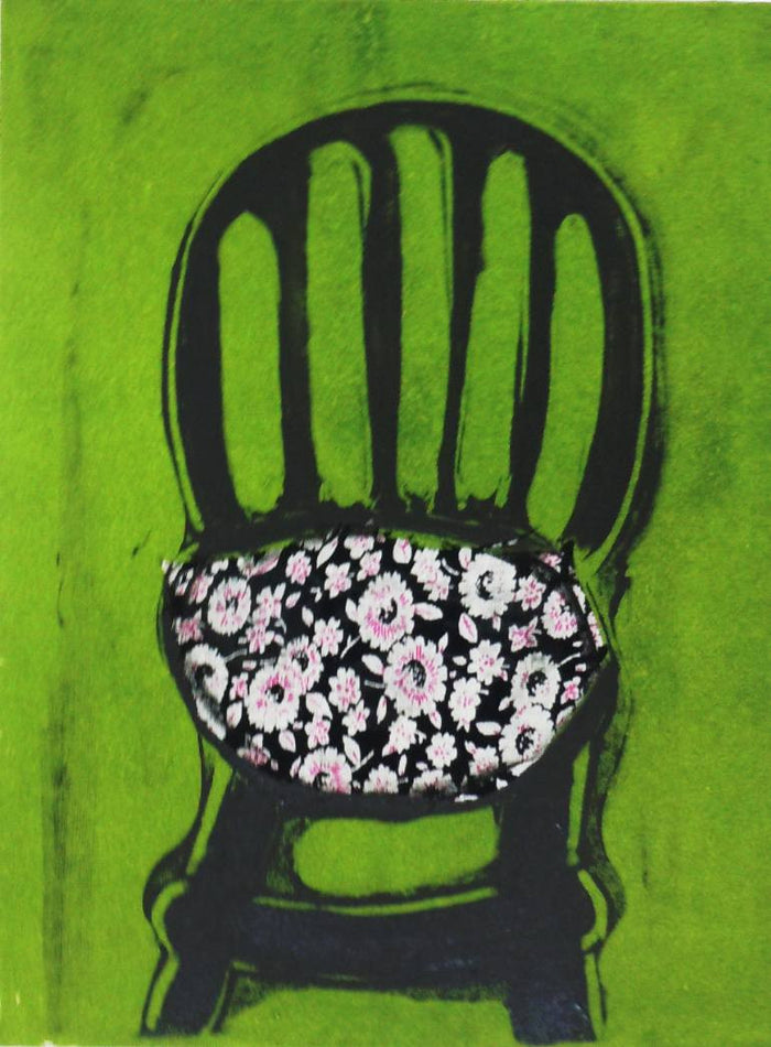 Chair #95 Monotype with tissu colle Nancy Citrino made in philadelphia The Print Center green and black floral pattern