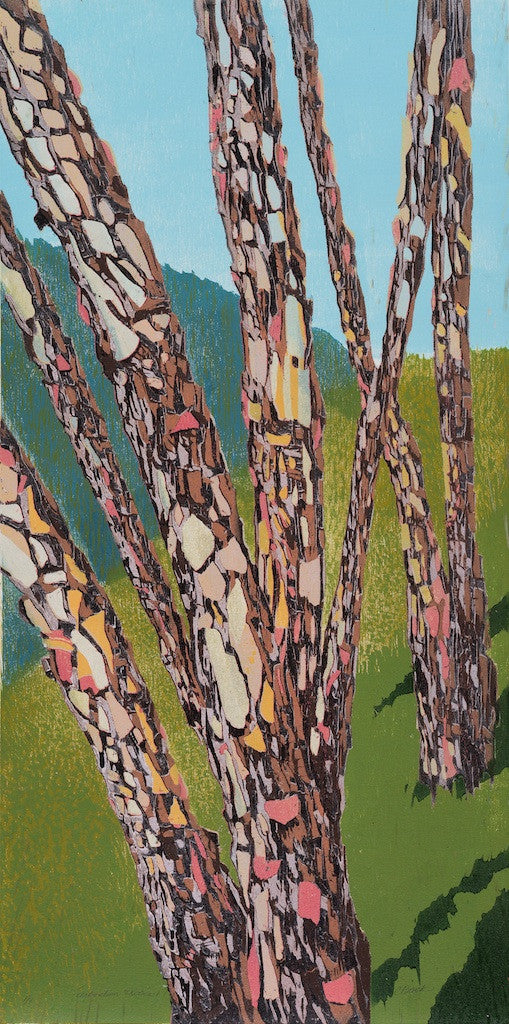 Arboretum Exotica #1 Reduction Woodcut Cynthia Back The Print Center Trees