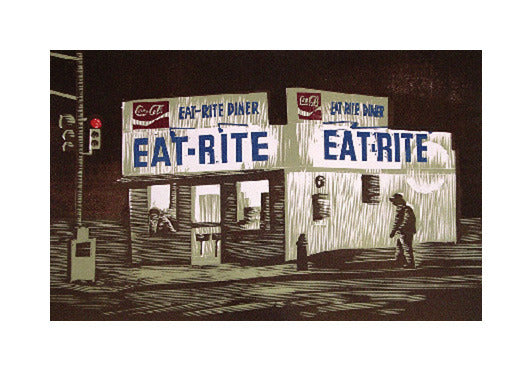 Eat-Rite at Night Anthony Lazorko Woodcut the print center diner nighttime small town coca cola