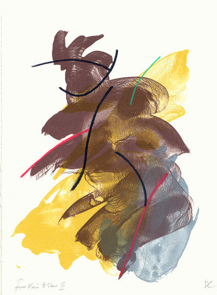 from Voices to Share III Ed Colker color based abstraction lithograph the print center brown yellow blue