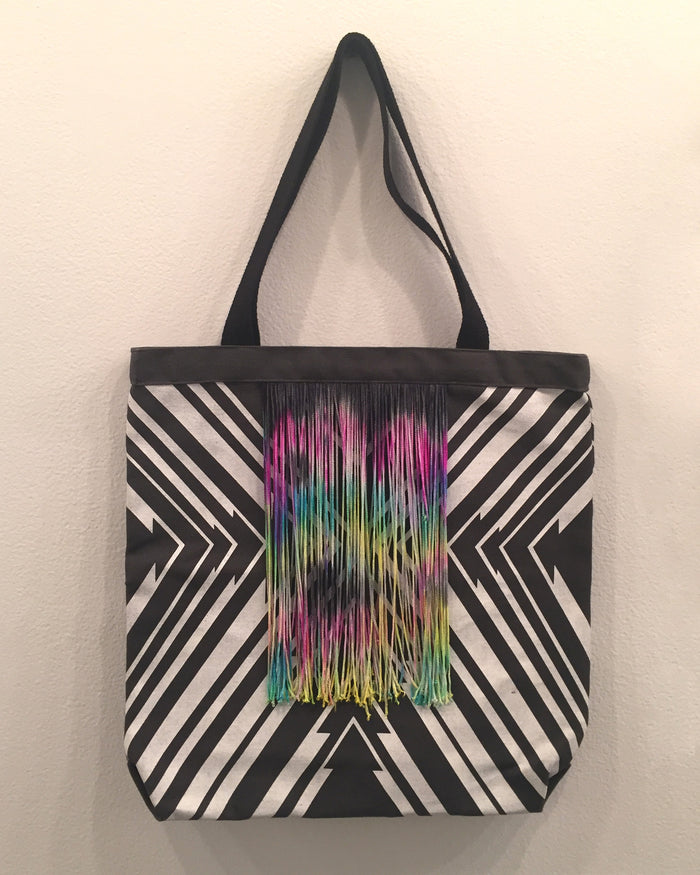 Gray Arrow PKW (with tassels) tote bag wearable accessory gifts Kayrock Screenprinting black and white color detail rainbow