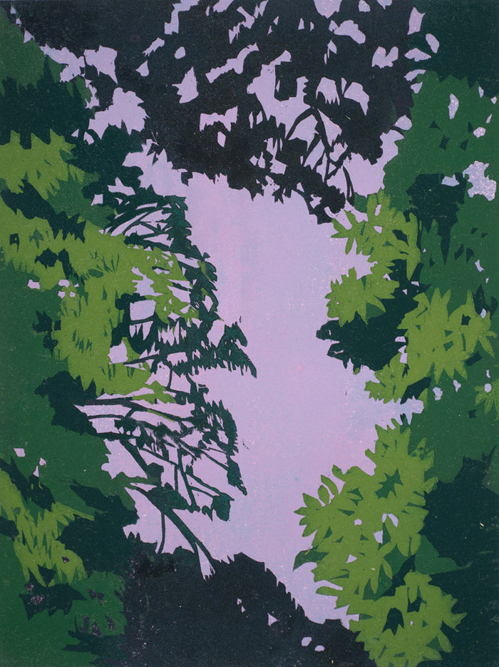 From the Ground Up #1 REduction woodcut Cynthia Back the print center trees green and pink sky nature