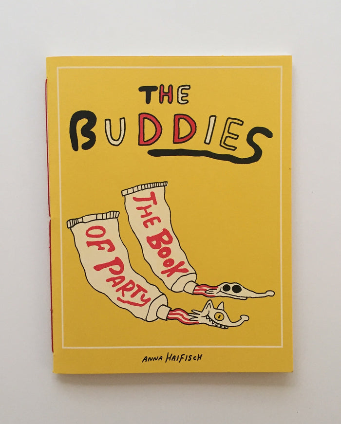 Buddies the Book of Party Kayrock Screenprinting Book  Anna Haifisch adventuring cartoons yellow red and black The Print Center