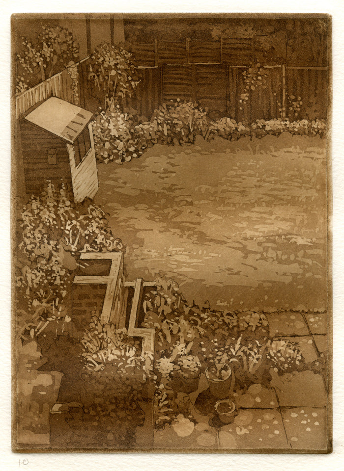 Garden Ken Sutherland sepia made in philadelphia the print center intaglio nature backyard outdoors plants garden boxes shed soil fences bricks