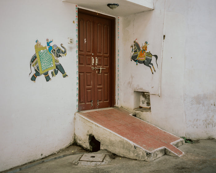 """Haathee"" by Saleem Ahmed. An inkjet print. Photography, Color, Cityscapes, Urban landscape, Elephant, Horses, Stickers, Murals, Door, Ramp. The Print Center"