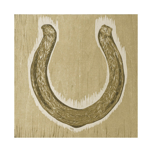 Horseshoe Woodcut the print center Rebecca Gilbert relief gold made in Philadelphia