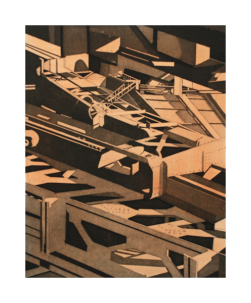 Huletts III Aquatint with water color intaglio sidney Hurwitz the print center shapes black and brown building materials