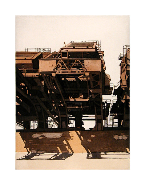 Huletts VIII Intaglio sidney hurwitz the print center industrial building steal metal structure lines shapes rectangles intaglio the print center